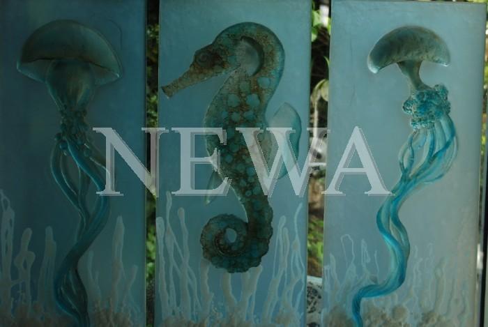 Sealife In Aqua Triptych by Garry White