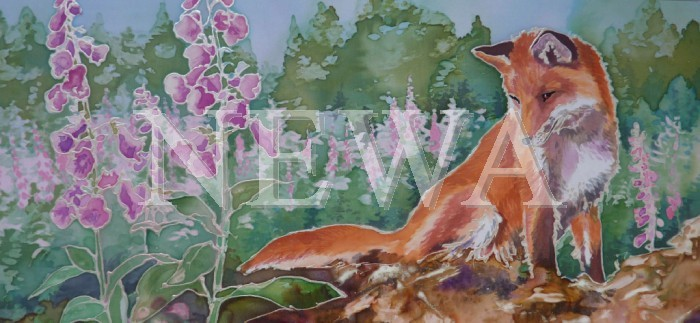 Fox And Foxgloves by Jackie Cox